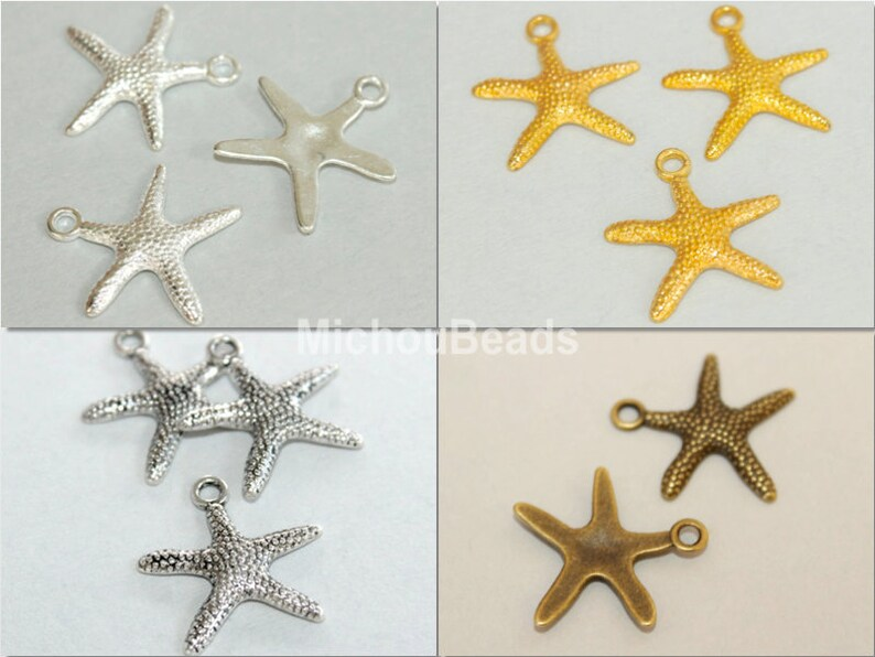 USA Wholesale Charms 5 GOLD STARFISH Charm Pendants Ocean Beach Boho Nautical Charms 19mm Bright Gold Stars 5496 Instant Ship