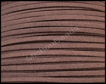 1 YARD - CHOCOLATE Brown 3mm Faux Suede Cord - 3 Feet 3x1.5mm Flat Micro Fiber Suede Leather Ribbon Cord - DIY Jewelry Cord By the Yard