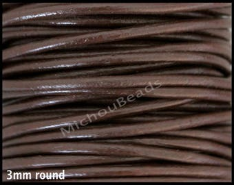 1 Yard 3mm CHOCOLATE Brown Round Genuine Natural LEATHER Cord - 3 Feet Indian Boho Leather Cording By the Yard - Instant Ship - USA
