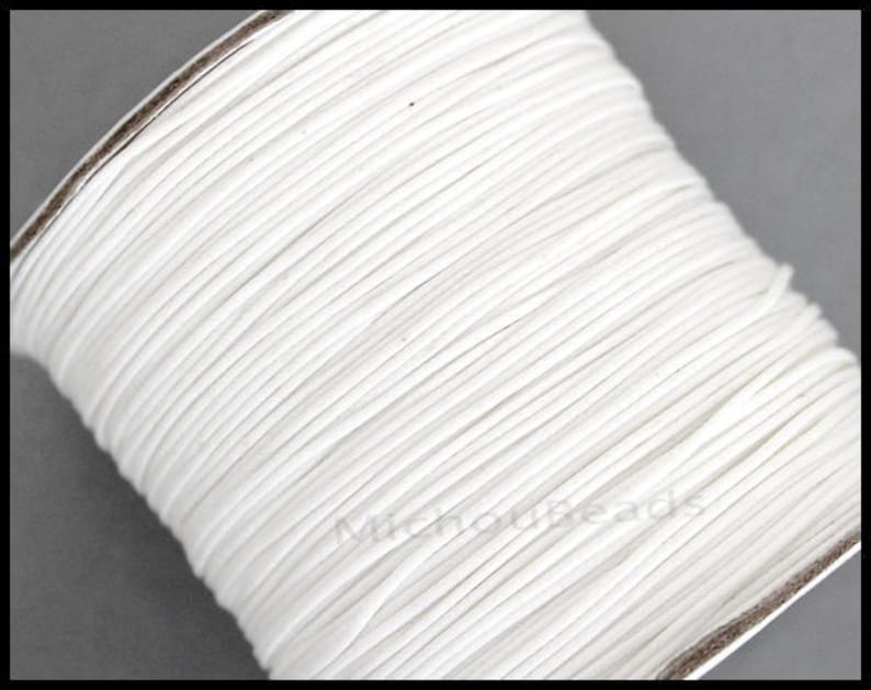 WHITE 15 Feet Round Soft Shiny Polyester Wax Cord for Beaded Wrap Stringing Bracelets USA Wholesale 5 Yards 2mm KOREAN Waxed Cord