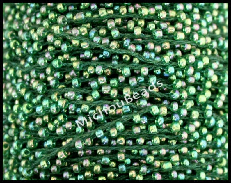 Beaded Cord for Bracelet #23 Mix SPRING 15 YARDS Seed Bead Cord 2mm 110 Round Tiny Transparent AB Seed beads weaved on Polyester Thread