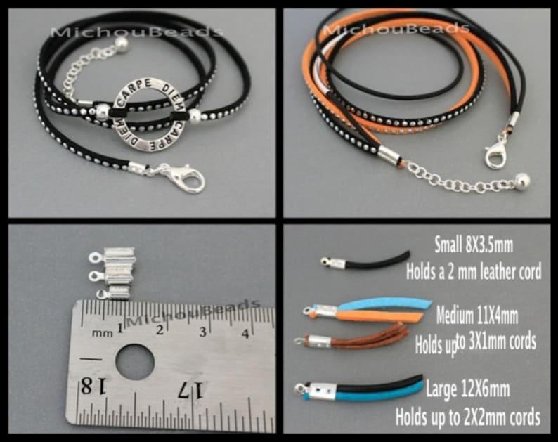 Silver Plated Copper Caps Crimps Bend Style w 3.2mm Inside Diameter BULK 200 MEDIUM 11mm Silver FOLD Tube Cord Tip Crimp w Loop 6420