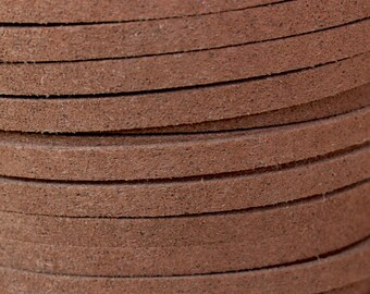 1 Yard - 5 x 1.5mm CHOCOLATE Brown MICRO Fiber Faux Suede Leather Ribbon Cord - 3 Feet Faux Suede By the Yard - Instant Ship USA Seller