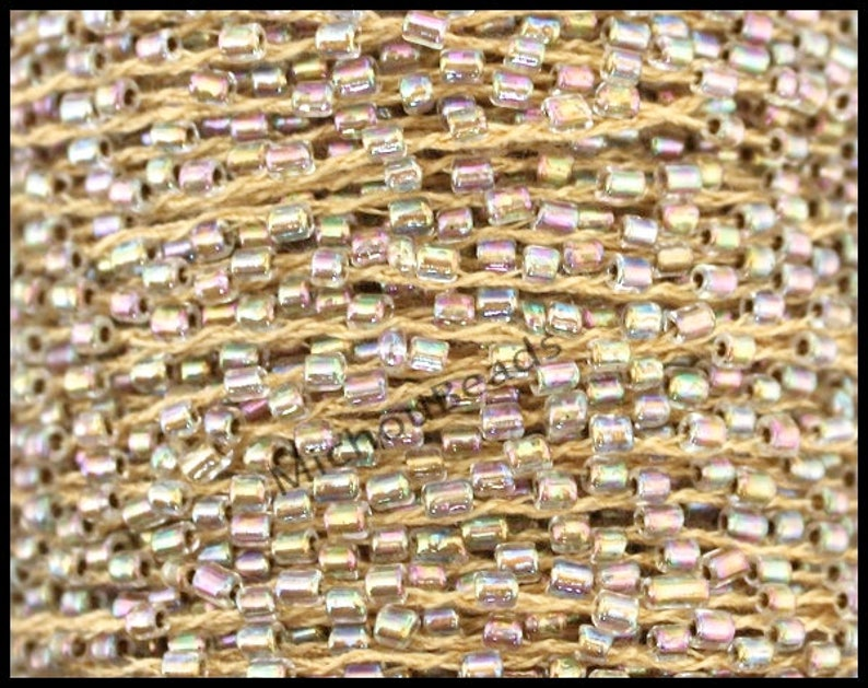 # 17 Peru AB 1 YARD SEED Bead Cord 2mm Bugle Tiny Glass Seed beads weaved on Polyester Thread Beaded Cord for Wrap Bracelet Jewelry