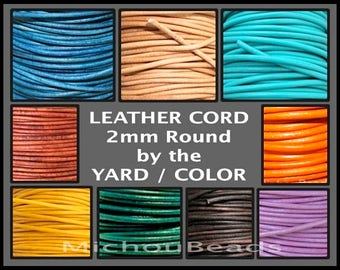 2mm Round Indian LEATHER Cord - Lead Free Natural Regular Distressed Metallic Leather by the Yard Wholesale - Pick COLOR / LENGTH - Usa