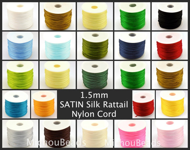 1.5mm Nylon Macrame Shamballa Braided Bracelet Rattail Cord Thread String Rope