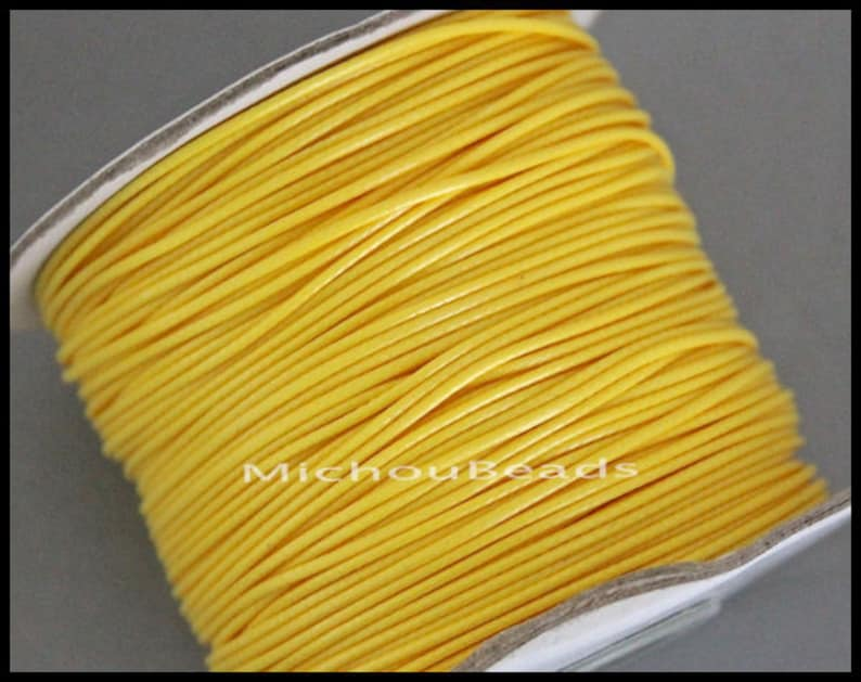 USA Wholesale YELLOW 6 Feet Round Soft Shiny Polyester Wax Cord for Beaded Wrap Stringing Bracelets 2 Yards 0.5mm KOREAN Waxed Cord