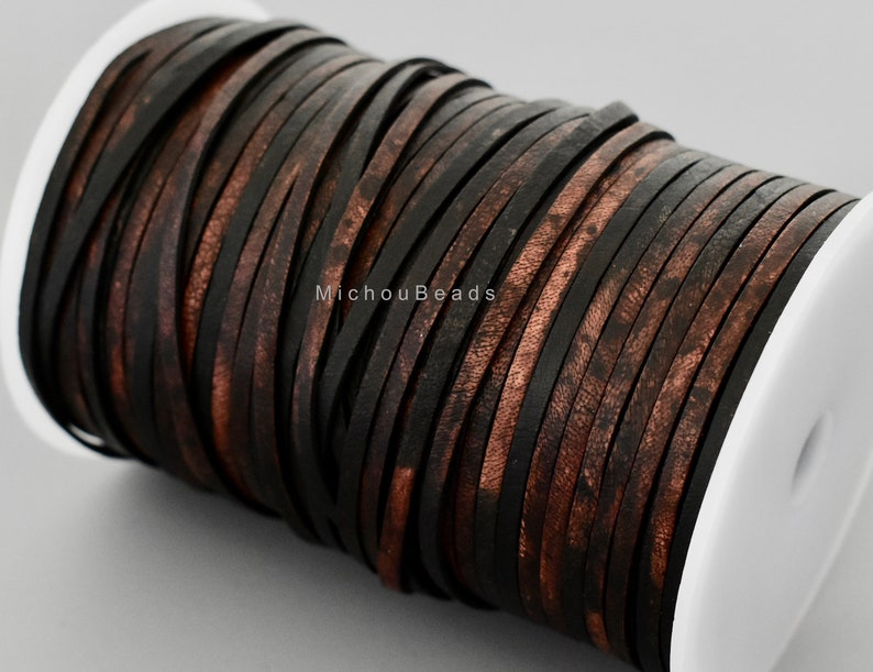 Sippa BLACK 3.5mm Wide Semi Soft Distressed Genuine Real Leather lace Cording 1 YARD 3.5x2mm FLAT Leather Cord for boho Wrap Bracelets