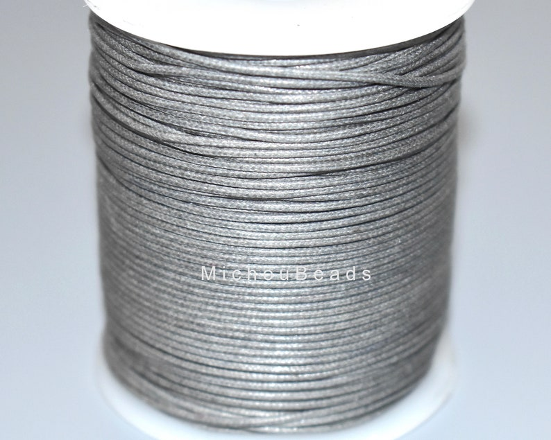 5 Yards GREY Polished Strong Lightly Waxed Cotton Shamballa Macrame Braiding Beading Wrap Bracelet 1mm Wax COTTON Indian Cord