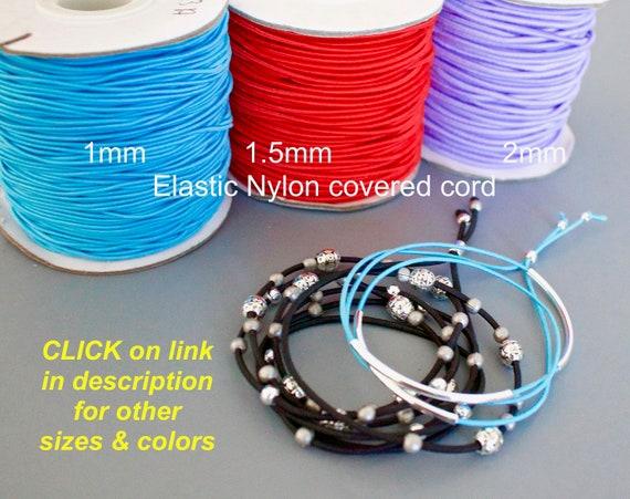 1 Yard BRIGHT ORANGE Round Nylon Coated Rubber Stretch Cording for Diy Craft Beading Wrap Bracelet Jewelry 2mm ELASTIC Cord