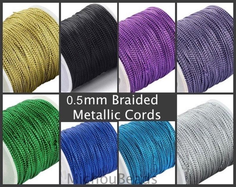 0.5mm Braided METALLIC Cord 15 Yards GREEN Silk Chinese Knot Shamballa Macrame Knotting Diy Beading Dainty String Thread 0.8mm