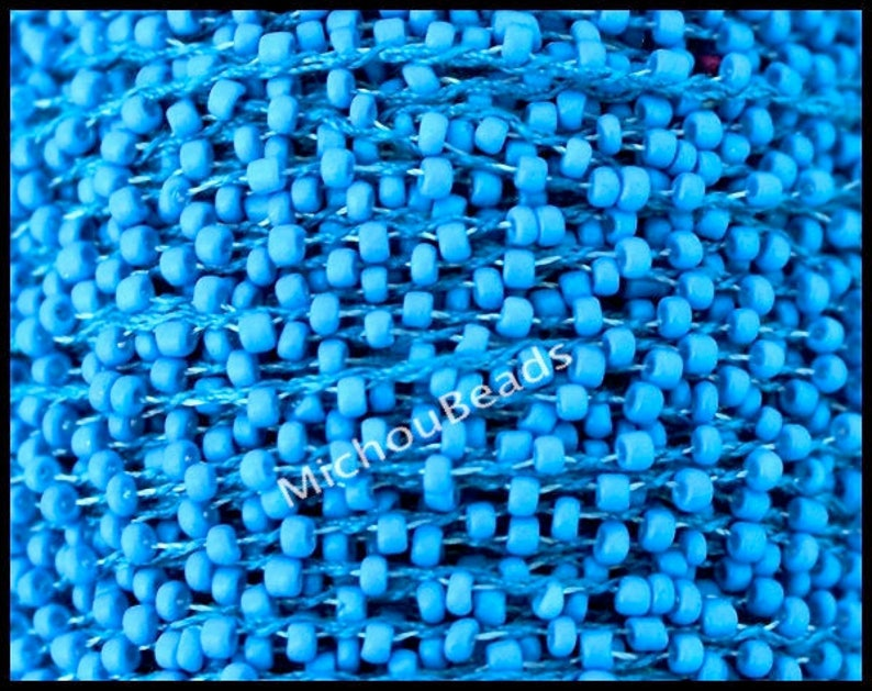 110 Beaded Cord for Wrap Bracelet #31 MEDIUM Blue 2mm Opaque Round Tiny Seed beads weaved on Polyester Thread 5 YARDS SEED Bead Cord