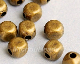 25 ANTIQUED Gold 4mm SQUARE Round Metal Beads - Gold Rounded Cube Beads -  Wholesale Metal Beads - Instant Shipping from USA - 5328