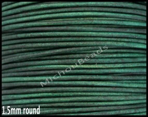 Cordon de cuir rond 2 verges 1.5 mm - 6 pieds en détresse vert véritable naturel indien en cuir Boho gros Cording - téléchargement Ship - Usa
