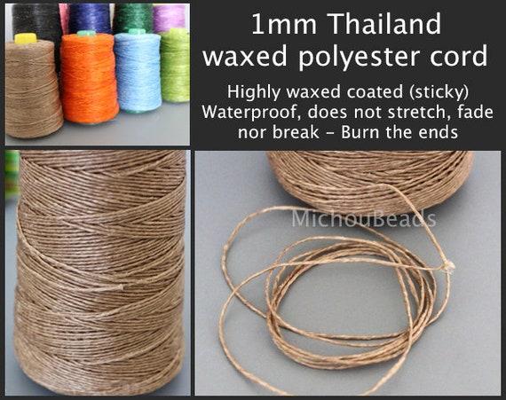 Sticky No Stretch Waterproof  String Diy Jewelry 1mm THAILAND Waxed Cord 5 Yards Dark BLUE Wax Thai Environmental Polyester Cording