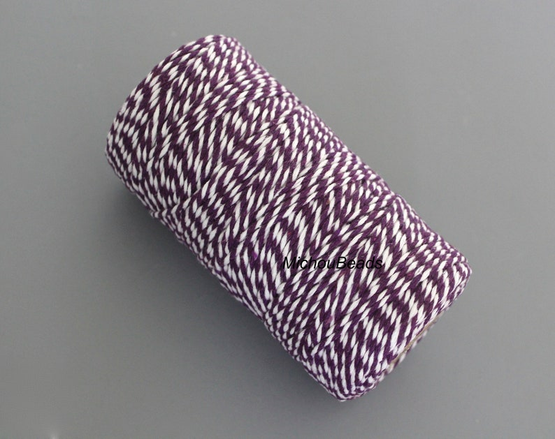 1.5mm COTTON Cord 5 Yards White  GRAPE Purple Baker/'s Twine 2 Tone Colors Twist String Cording Jewelry Cord By the Yard Carded or Bundle