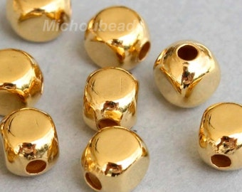 100 GOLD 4mm SQUARE Round Metal Beads - Gold Rounded Cube Beads -  Wholesale Metal Beads - Instant Shipping from USA - 5325