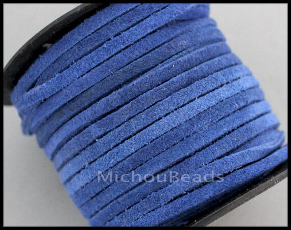 2 yards véritable daim cordon - 3mm cosmique bleu 6 pieds 3x1.5mm plat réel Split daim en cuir naturel colorant couleur gros dentelle Cording - USA