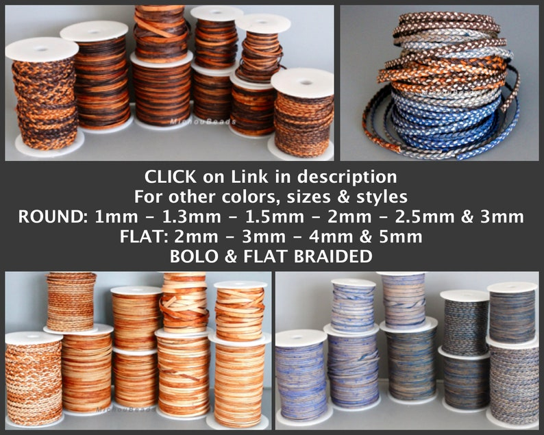 Real Natural Lead free dye Indian Leather Cording for Diy Jewelry 2.5mm Round LEATHER Cord 5 Yards  15 Feet DARK DENIM Blue Distressed