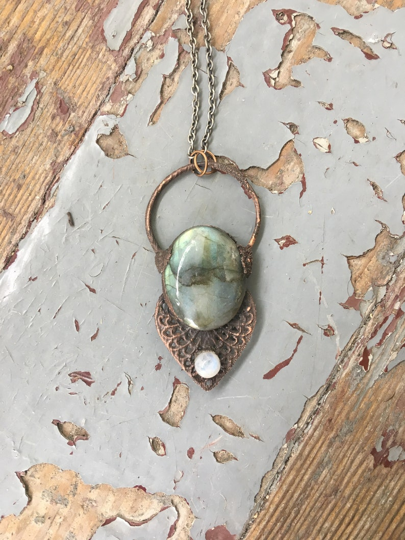 Natural Stone Jewelry Moonstone Witchy Jewelry Rustic Jewelry Witchy Woman Mystical Jewelry Electroformed Labradorite
