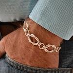 Men's Sailors Knot Link bracelet    Heavy weight Sterling silver.