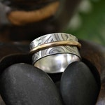 Patterned sterling silver and 14K gold filled spinner ring.  Worry ring.