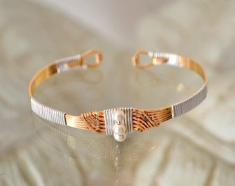Sterling Silver or 14K gold filled Cuff Bracelet.  Art Deco.  matches Sultan's ring