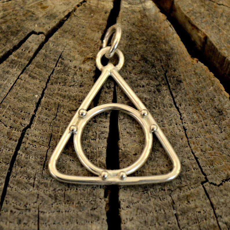 Sterling Silver Recovery pendant necklace. handforged triangle image 0