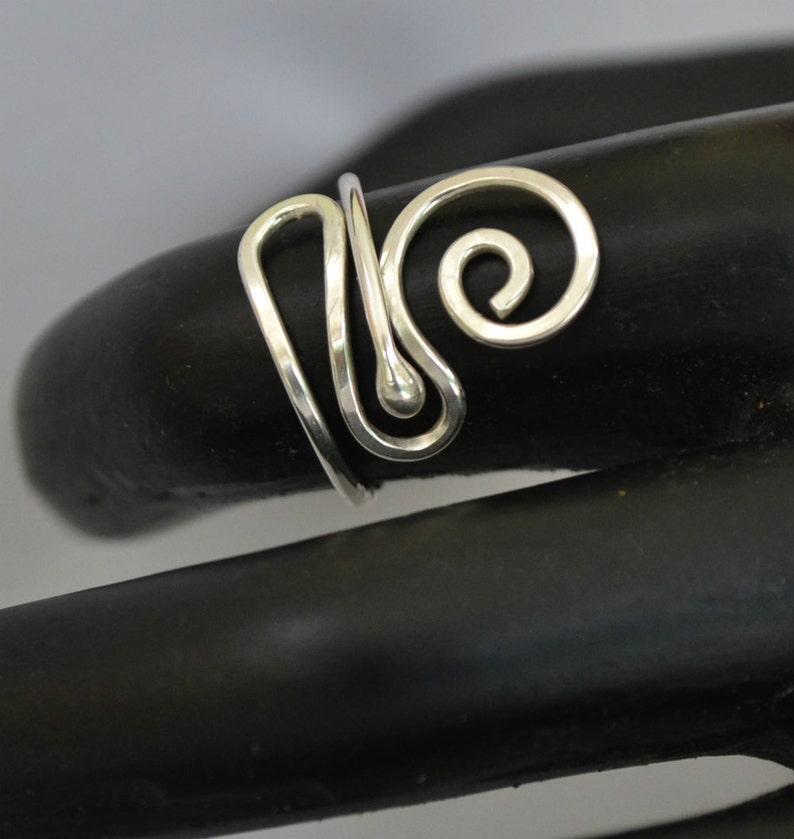 Adjustable Sterling Silver ring.  Handmade freeform. image 0