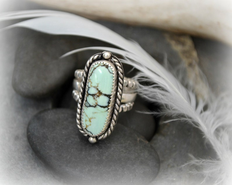 Sterling silver ring.  Butterfly wing variscite ring.  size image 0