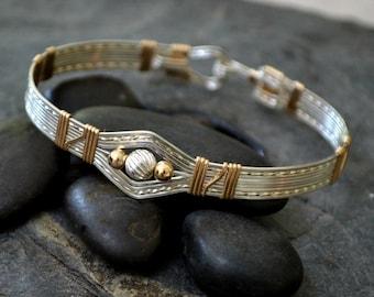 Ru la la 2.0  Sterling silver and 14K gold filled wire wrapped bracelet.