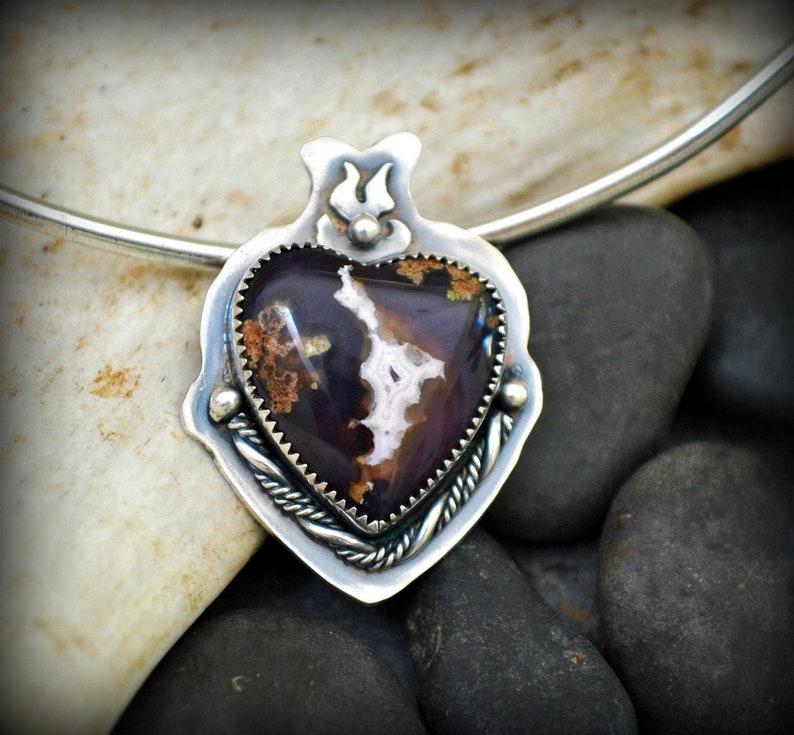 sacred heart pendant.  Purple passion agate pendant.  Broken image 0