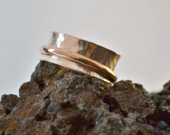sterling silver and 14K gold filled spinner pinky ring.  Worry ring.