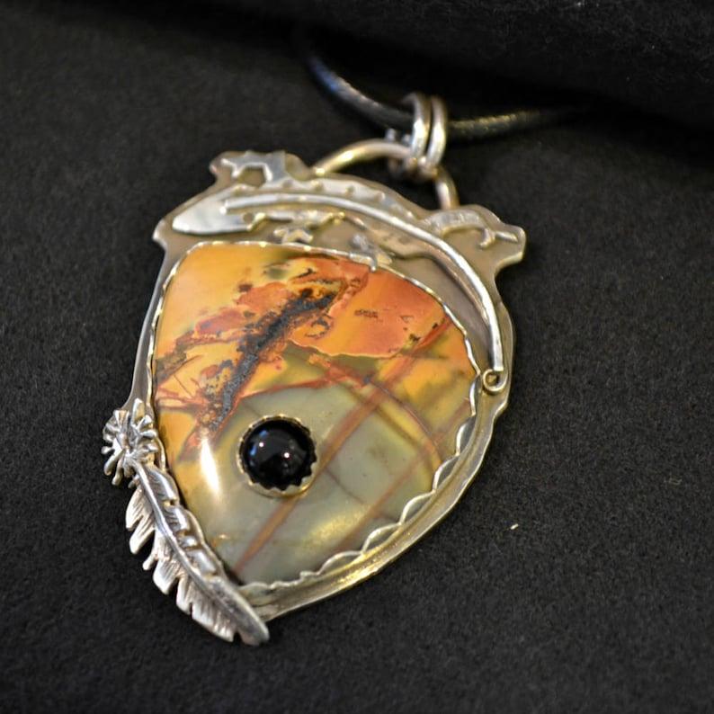 Southwestern lizard and stone on stone necklace pendant. image 0