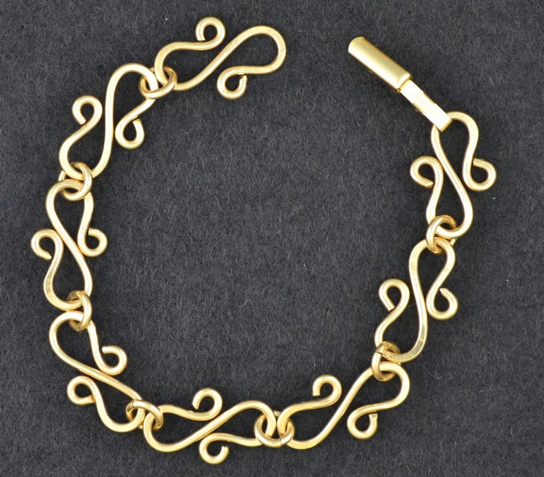 Sterling silver or 14k Gold filled charm bracelet Hand forged image 0