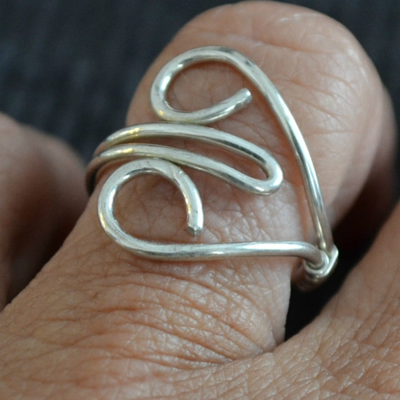 Sterling Silver Heart Ring.  Adjustable. hand forged. image 0