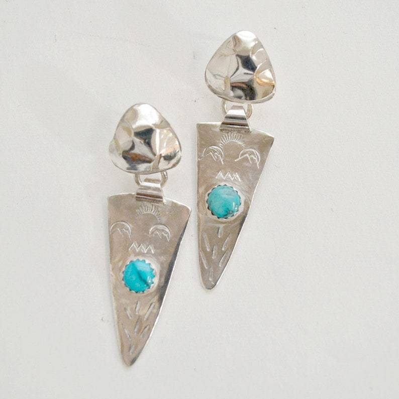 Southwest style turquoise and sterling silver earrings. hand image 0