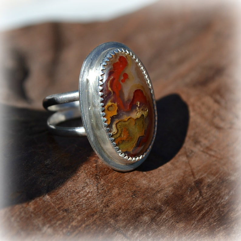 Moss agate stone ring.  Sterling silver ring with setting and image 0