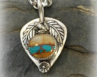 Royston Ribbon turquoise sterling silver with tree frog and tropical leaves. stone pendant necklace