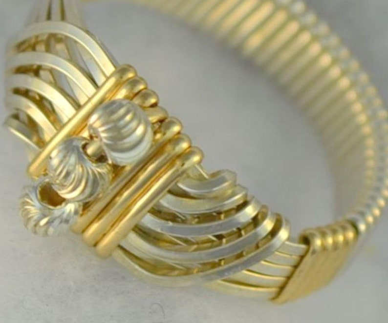 925 Sterling Silver wire wrapped Sultan's Ring 14K gold image 0