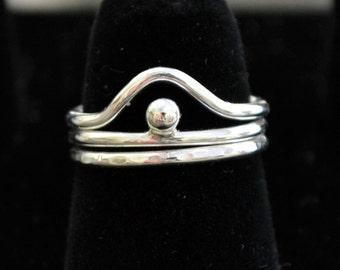 Sterling silver stacking rings  3 rings set 7 ways.