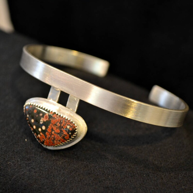 Olympic Poppy jasper sterling silver cuff  bracelet.  Brush image 0