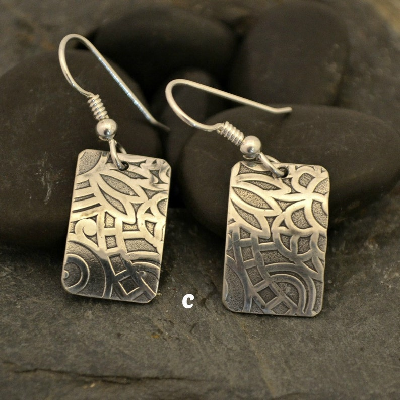 sterling silver textured earrings.  choose a or c.  B is sold. item c only