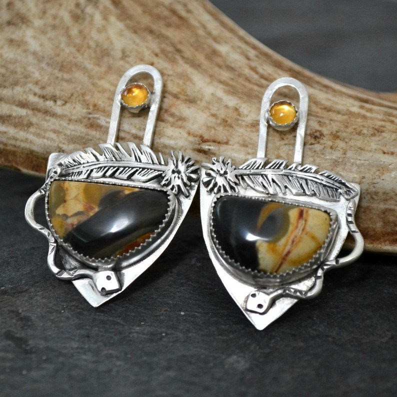 Peanutwood and citrine artisan earrings.  sneaky image 0