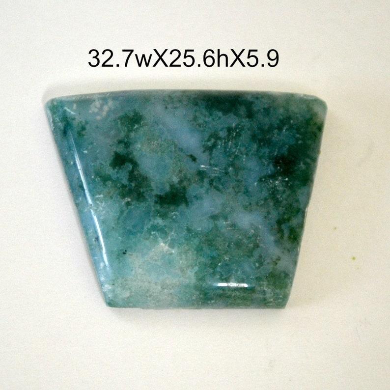 Moss agate cabochon.  freeform shape blue green. 32.7 x 25 x image 0