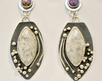 """mojave turquoise and lace agate sterling silver earrings.  """"Dew Drops"""""""