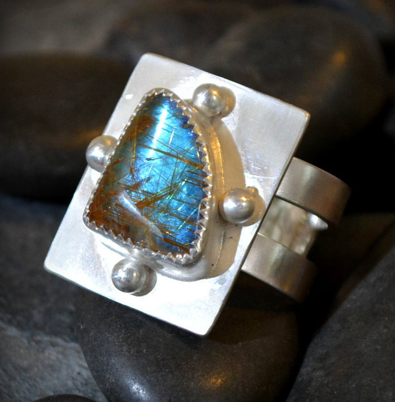 rutilated quartz ring with opal effect.  size 7 image 0