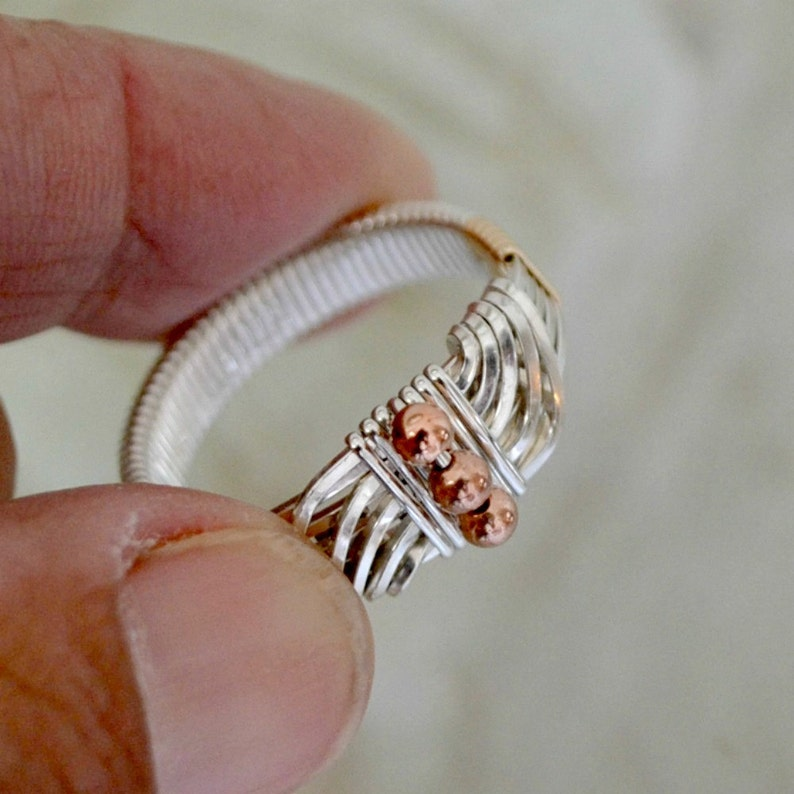 Men's Ring.  Sterling Silver with gold and copper accents. image 0