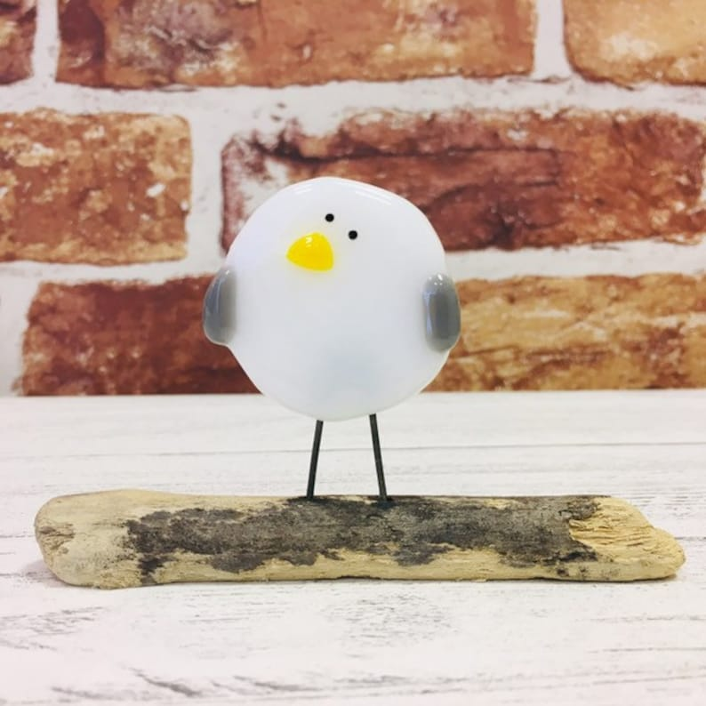 Fused glass baby seagull ornament mounted on driftwood - facing left