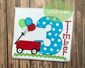 Custom Personalized Birthday Shirt - Red Wagon with Balloons and Number